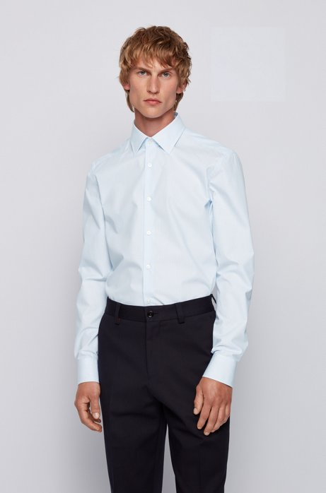 Slim-fit shirt in micro-patterned cotton, Light Blue