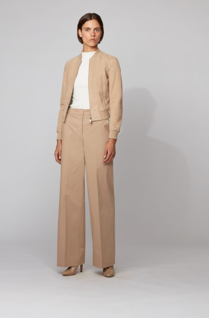 Relaxed-fit pants in washed stretch cotton