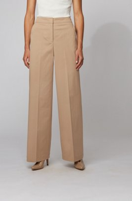 Relaxed-fit pants in washed stretch cotton, Beige