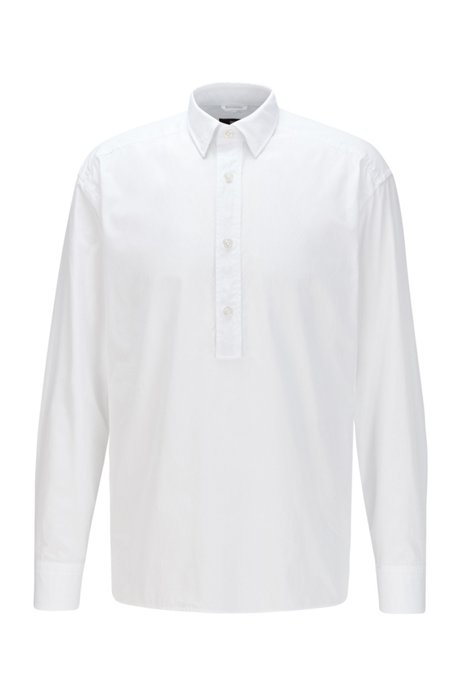 Relaxed-fit shirt in Italian cotton with polo collar, White