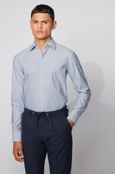 Slim-fit shirt in dot-print technical twill, Light Blue