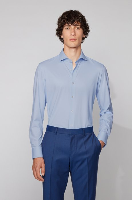 Slim-fit shirt in structured performance-stretch Italian fabric, Light Blue
