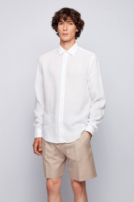 Slim-fit shirt in washed Italian linen, White