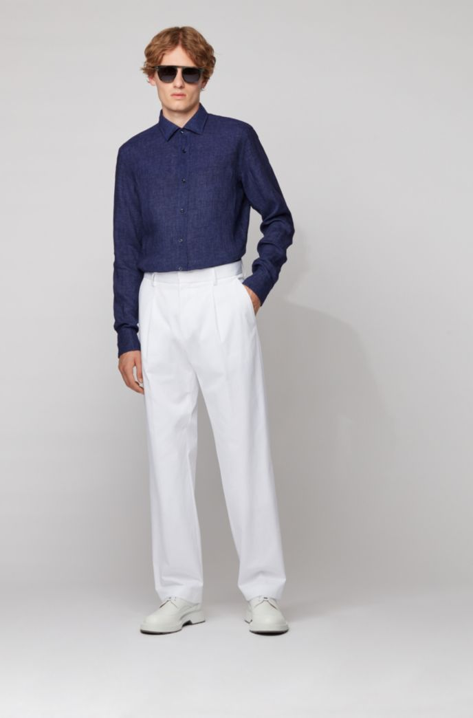 Slim-fit shirt in washed Italian linen