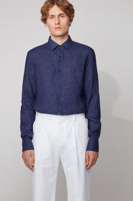 Slim-fit shirt in washed Italian linen, Dark Blue