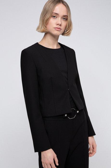 Cropped slim-fit jacket with hook closure, Black