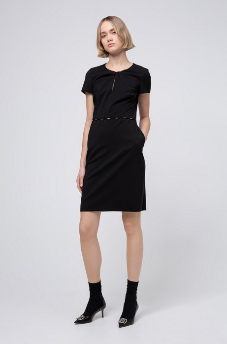 Hardware-trimmed dress in worsted stretch wool, Black