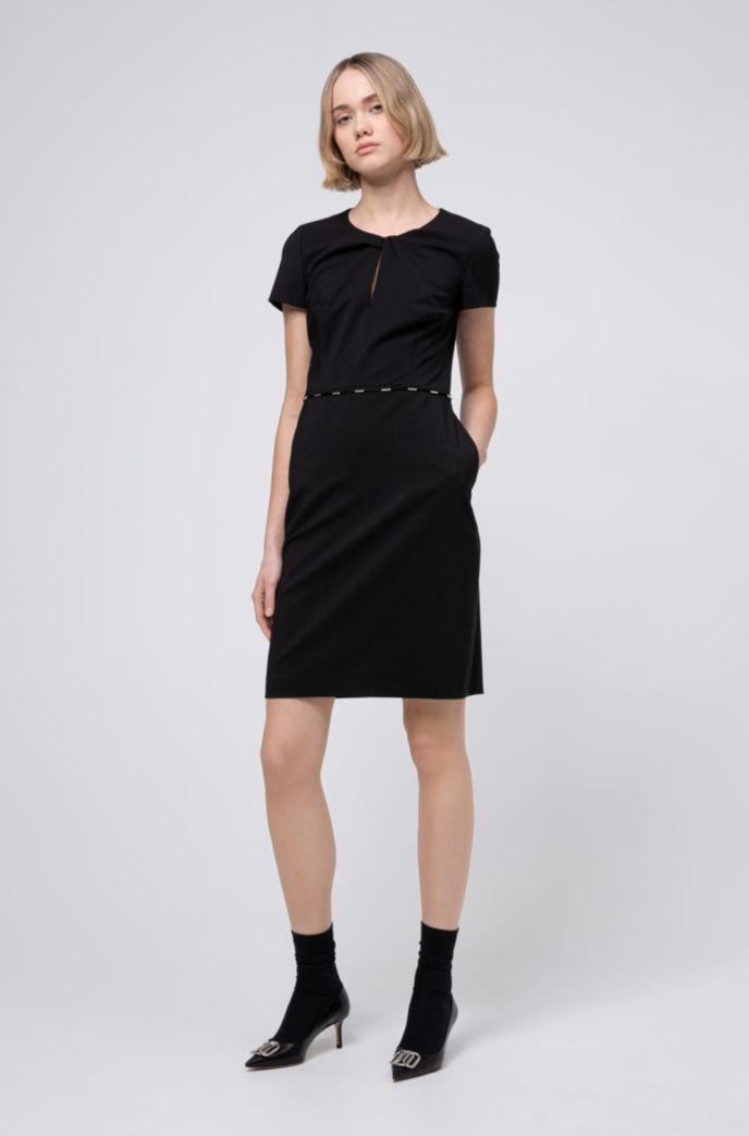 Hardware-trimmed dress in worsted stretch wool