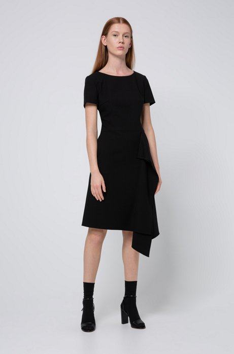 Short-sleeved dress with draped detail, Black