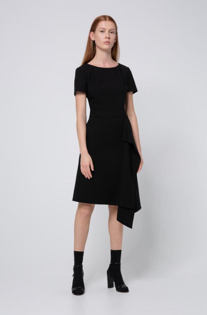 Short-sleeved dress with draped detail