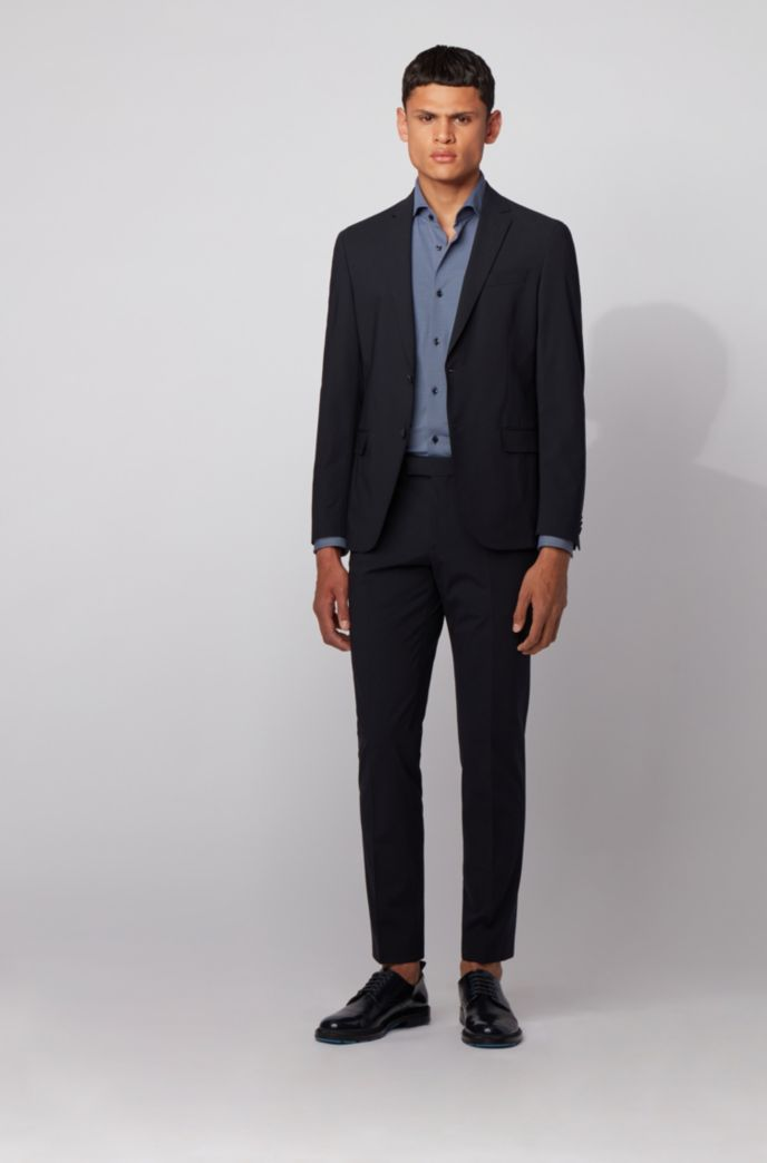 Slim-fit shirt in performance-stretch structured fabric
