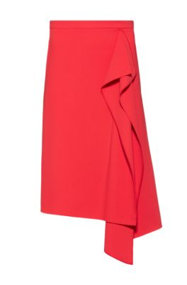 Pencil skirt in stretch fabric with drape front, Red