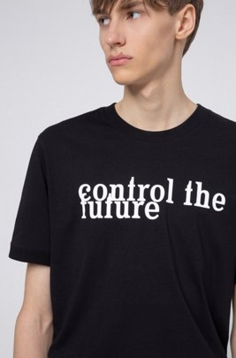 Unisex slogan-print T-shirt in Recot²® cotton, Black