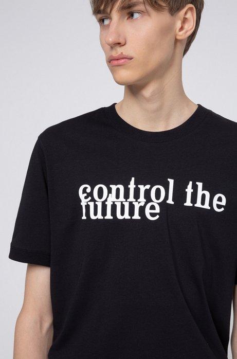 Unisex slogan-print T-shirt in Recot²® cotton, Black