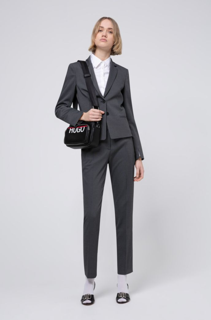 Slim-fit jacket with woven micro pattern