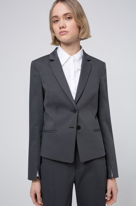 Slim-fit jacket with woven micro pattern, Black