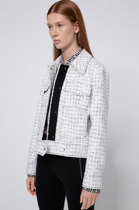 Relaxed-fit jacket in a tweed-inspired check, White