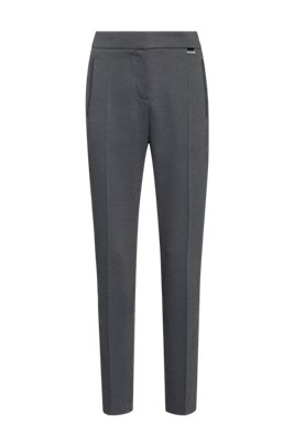 Micro-patterned relaxed-fit cigarette pants with hardware trim, Black
