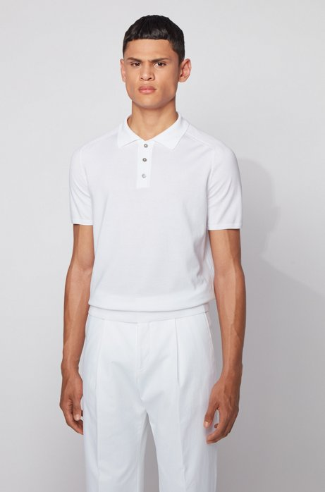 Short-sleeved sweater in silk with polo collar, White