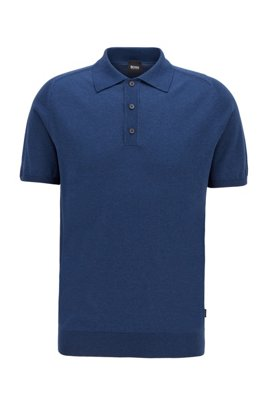 Short-sleeved sweater in silk with polo collar, Dark Blue