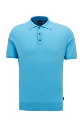 Short-sleeved sweater in silk with polo collar, Turquoise