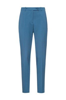 Slim-fit pants in pique fabric with logo-ribbon trim, Dark Blue