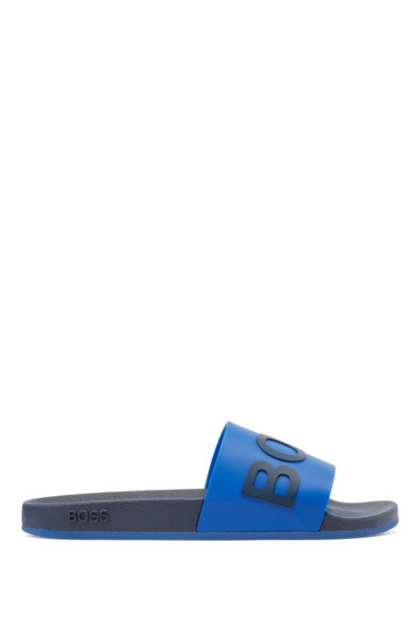 Logo slides with monogram-embossed outsole, Light Blue