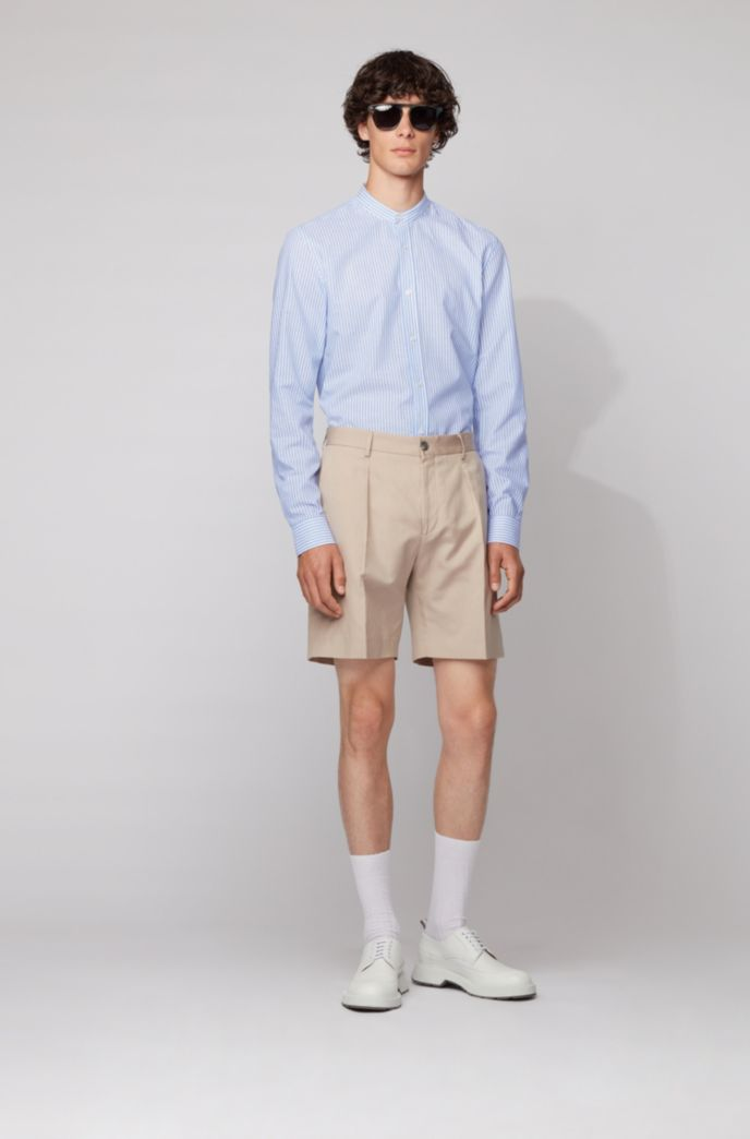 Slim-fit evening shirt in striped cotton-linen