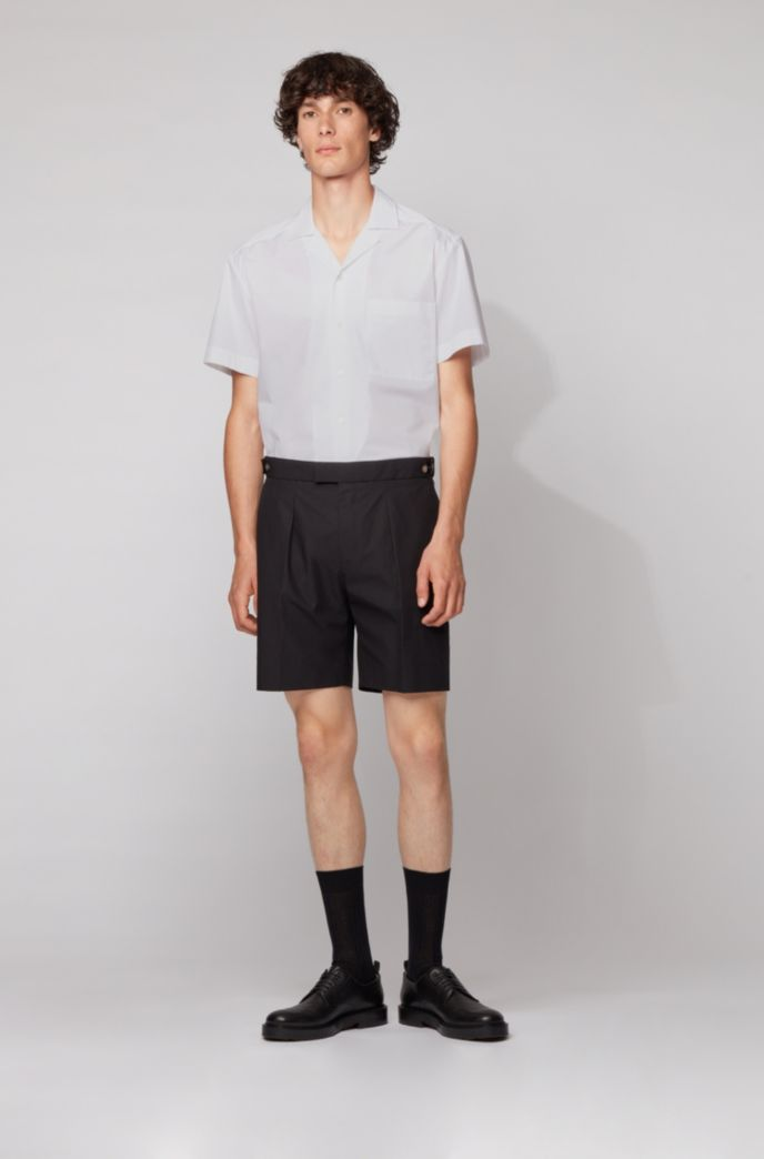 Relaxed-fit shirt in stretch cotton with camp collar