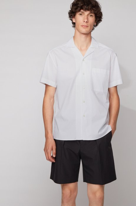 Relaxed-fit shirt in stretch cotton with camp collar, White