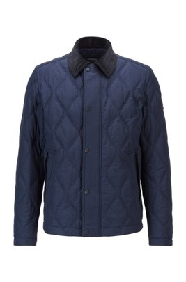 Diamond-quilted jacket with water-repellent outer, Dark Blue