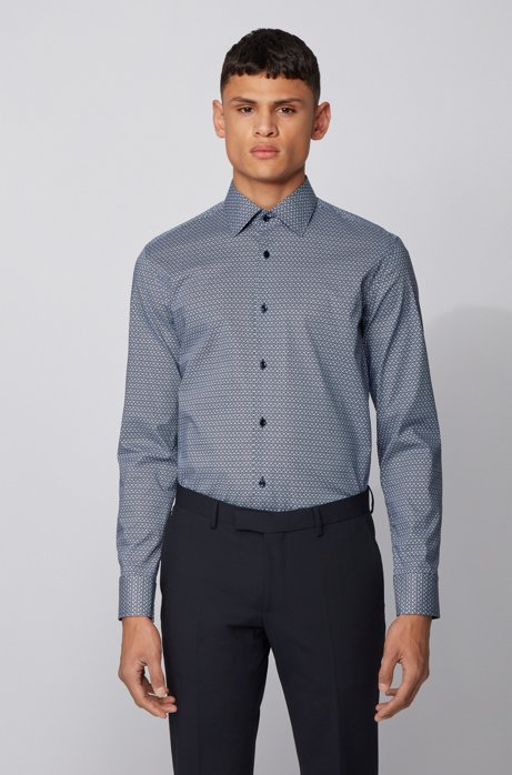 Slim-fit shirt in seasonal-printed stretch cotton, Dark Blue