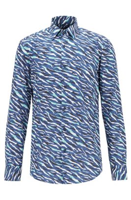Slim-fit shirt in cotton with abstract animal print, Dark Blue