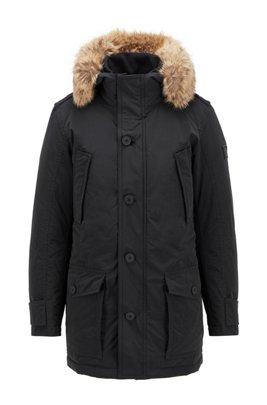 Water-repellent jacket with faux-fur trim, Black