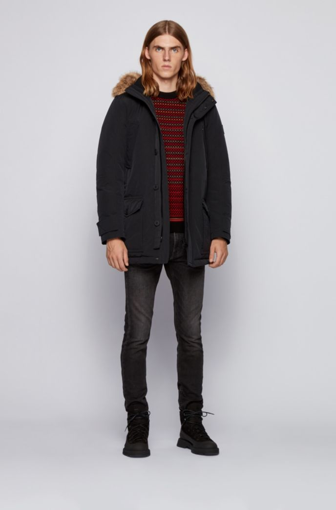 Water-repellent jacket with faux-fur trim