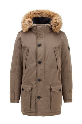 Water-repellent jacket with faux-fur trim, Khaki