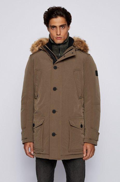 Water-repellent jacket with faux-fur trim, Khaki