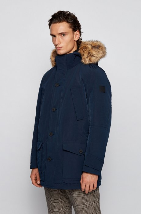 Water-repellent jacket with faux-fur trim, Dark Blue