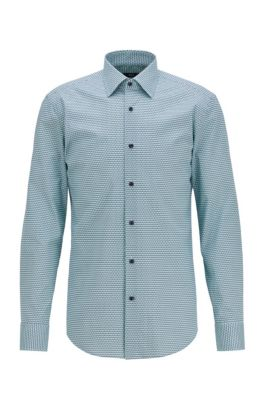 Slim-fit shirt in stretch cotton with seasonal print, Light Green