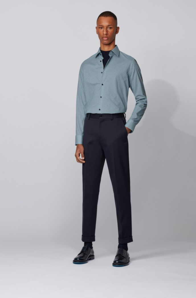 Slim-fit shirt in stretch cotton with seasonal print