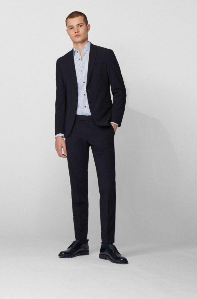 Slim-fit shirt in fish-print Italian stretch cotton