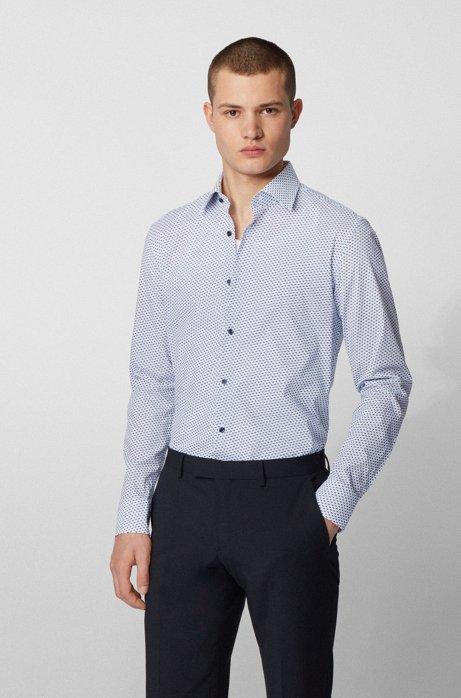 Slim-fit shirt in fish-print Italian stretch cotton, White