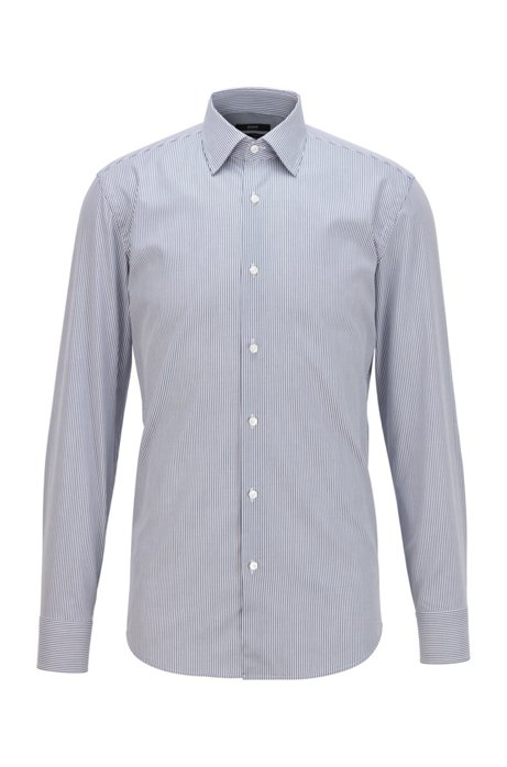 Slim-fit shirt in striped cotton with aloe vera finish, Dark Blue
