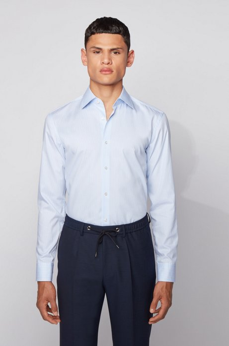 Slim-fit shirt in striped cotton with aloe vera finish, Light Blue