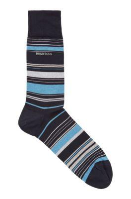 Striped socks in a mercerized cotton blend, Dark Blue