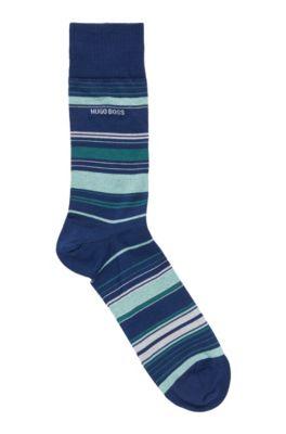 Striped socks in a mercerized cotton blend, Light Blue
