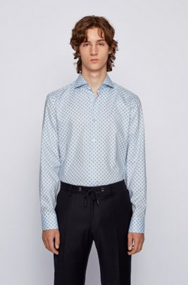 Slim-fit shirt in geometric-print cotton with Fresh Active finish, Light Blue