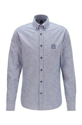 Oxford-cotton slim-fit shirt with jacquard logo patch, Dark Blue