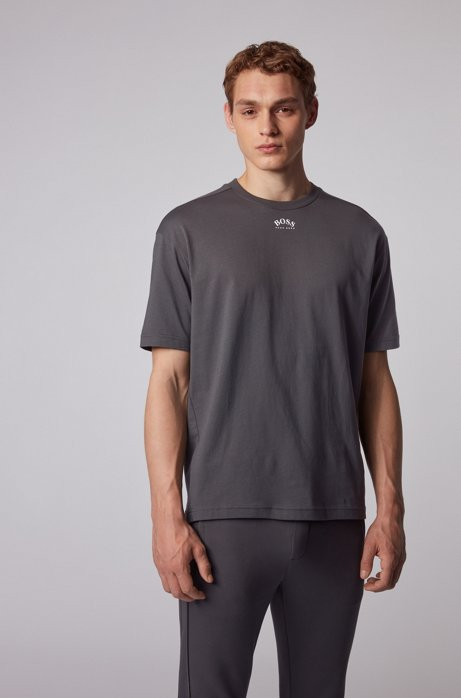 Cotton T-shirt with front and rear logos, Dark Grey