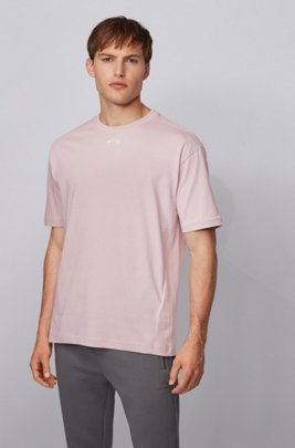 Cotton T-shirt with front and rear logos, light pink